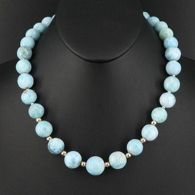 14K Larimar Graduated Bead Necklace