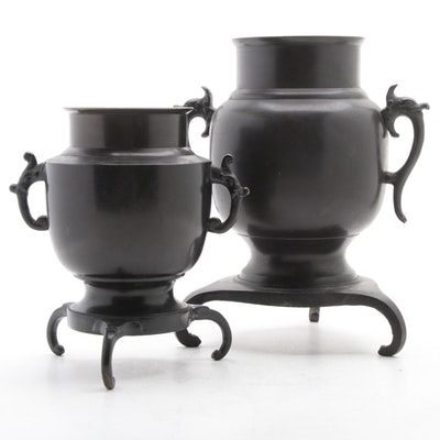 Japanese Bronze Usubata Ikebana Vases
