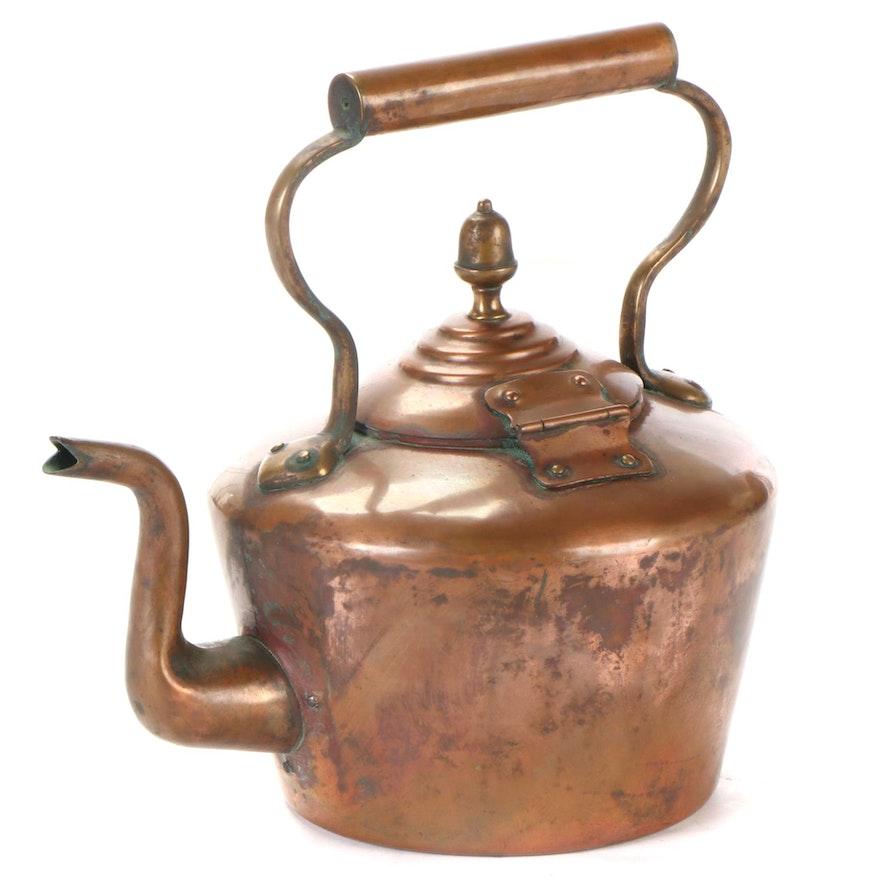 Copper Acorn Finial Dovetailed Tea Kettle, Antique