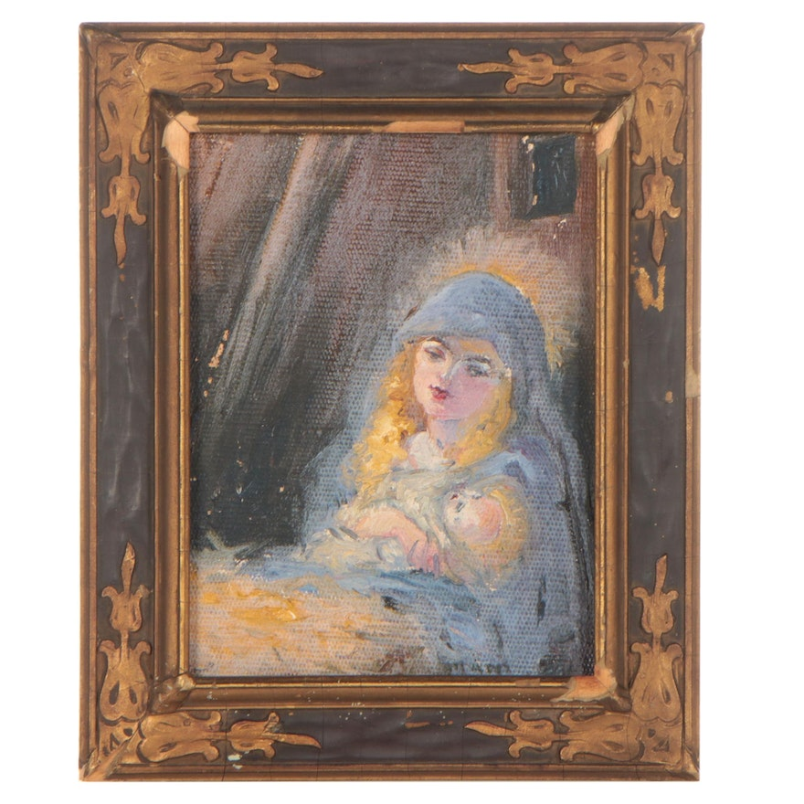 Oil Painting of a Mother and Child, Mid-20th Century
