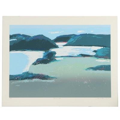 "Heidi Coutu Embellished Serigraph ""Mountain Lake,"" 1987"