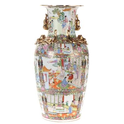 Chinese Rose Medallion Ceramic Floor Vase, Late 20th Century