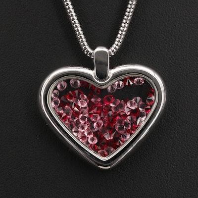 Swarovski Free Floating Crystal in Heart Pendant Necklace