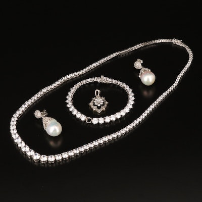 Sterling Jewelry Including Pearl, White Topaz and Cubic Zirconia