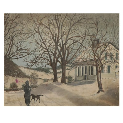 Rural Winter Landscape Oil Painting, Mid to Late 20th Century
