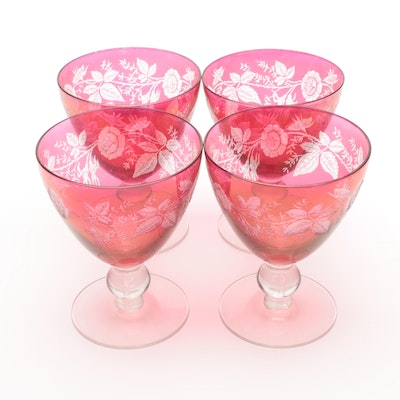 Cut-to-Clear Floral Cranberry Glass Goblets, Mid-20th Century