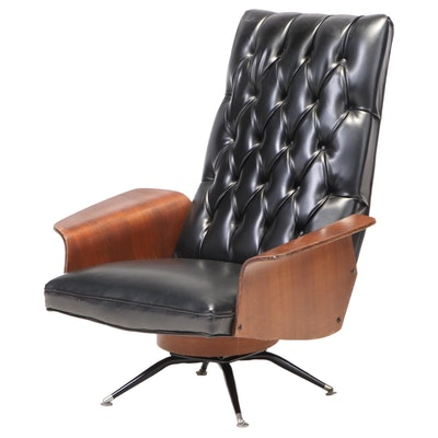 Modernist Laminated Walnut & Buttoned-Down Black Vinyl Swivel-Tilt Lounge Chair