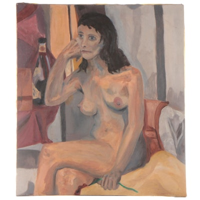 Jon Scharlock Reclining Female Nude Oil Painting, Late 20th Century