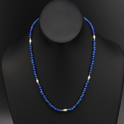 Lapis Lazuli and Pearl Necklace with 14K Accent Beads and Clasp