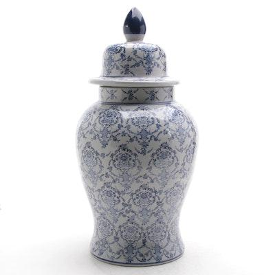 Oversized Blue and White Glazed Stoneware Ginger Jar, 21st Century