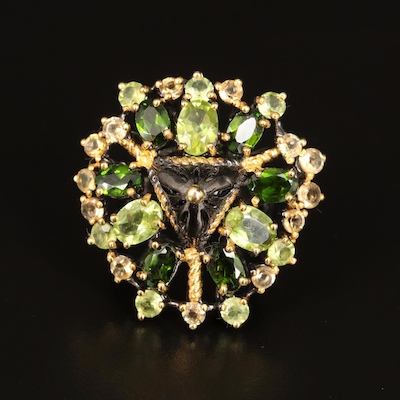 Sterling Peridot, Citrine and Diopside Cluster Ring