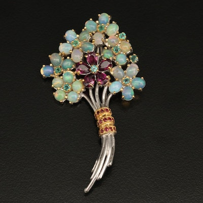 Sterling Silver Opal, Garnet and Emerald Floral Bouquet Brooch