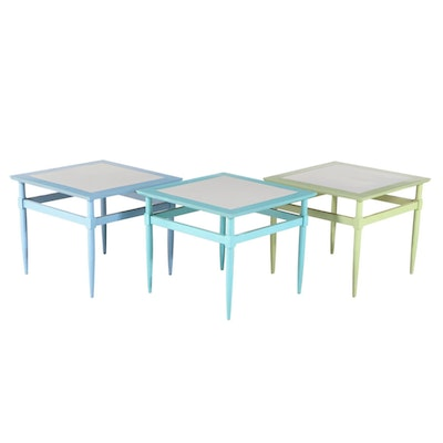Three Mid Century Modern Painted and Laminate Top Side Tables