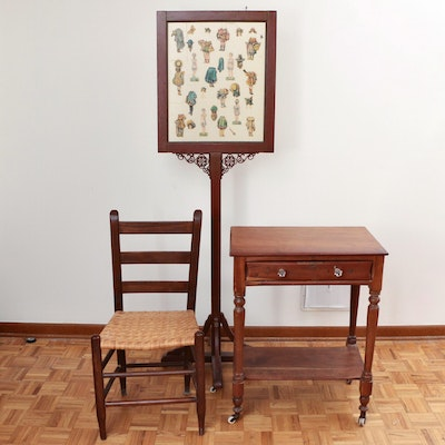 American Primitive Two-Tier Side Table, Ladderback Chair and Victorian Stand