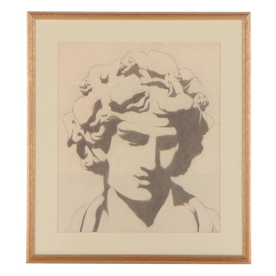 Graphite Drawing of Statue, Late 20th Century