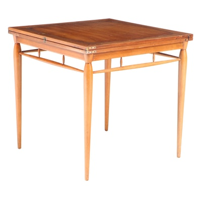 Heritage Henredon Mid Century Modern Walnut Extending Games Table