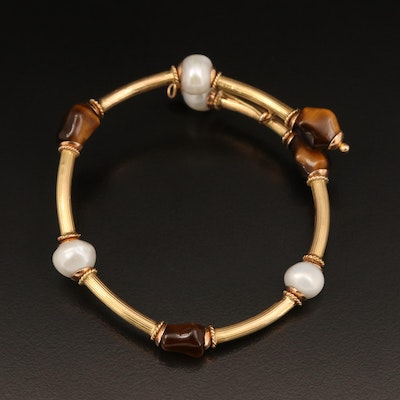 Tiger's Eye and Pearl Bracelet with 14K Accents