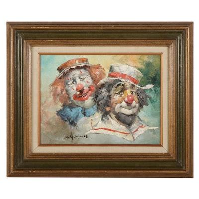 William Moninet Clowns Oil Portrait, Late 20th Century