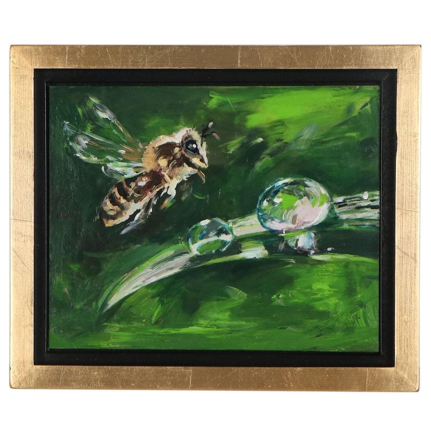 "Adam Deda Oil Painting ""Honey Bee,"" 21st Century"