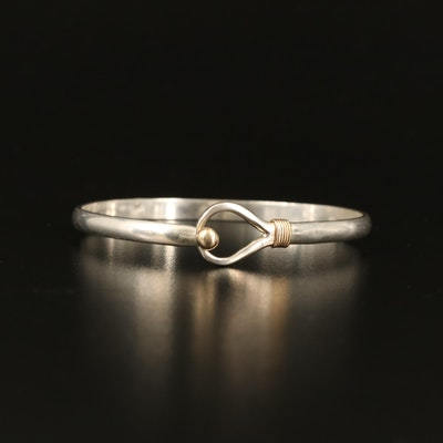 Sterling Loop Bangle with 14K Accents