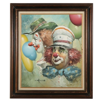 William Moninet Impressionist Oil Painting of Clowns, Late 20th Century