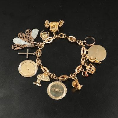 "Vintage Mixed Metal Charm Bracelet Featuring Disney ""Figment"", 18K, 14K and 10K"