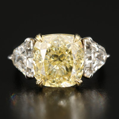 18K 7.26 CT Fancy Light Yellow Diamond and 2.50 CTW Diamond Ring with GIA Report
