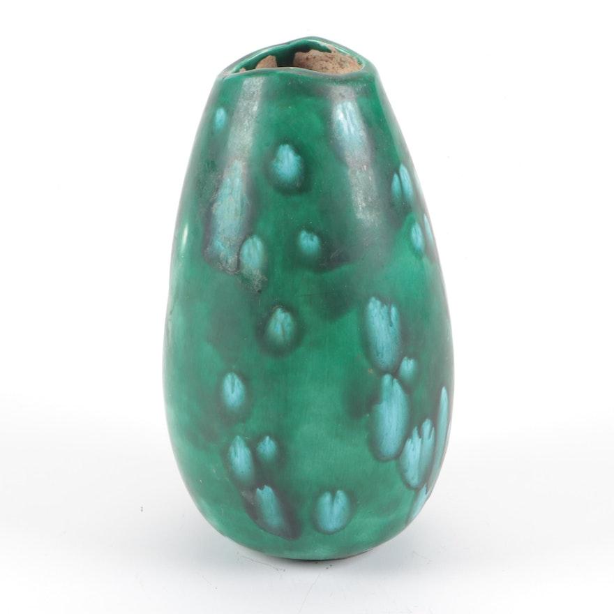 Studio Pottery Green Glazed Vase