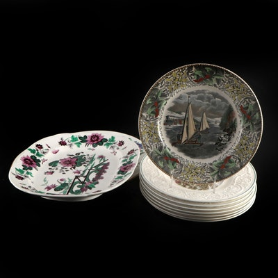 """Adams Ironstone Nathaniel Currier  """"Winter Scenes"""" and Other Ceramic Plates"""