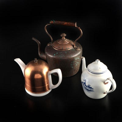 Copper, Enameled Metal and Ceramic Teapots
