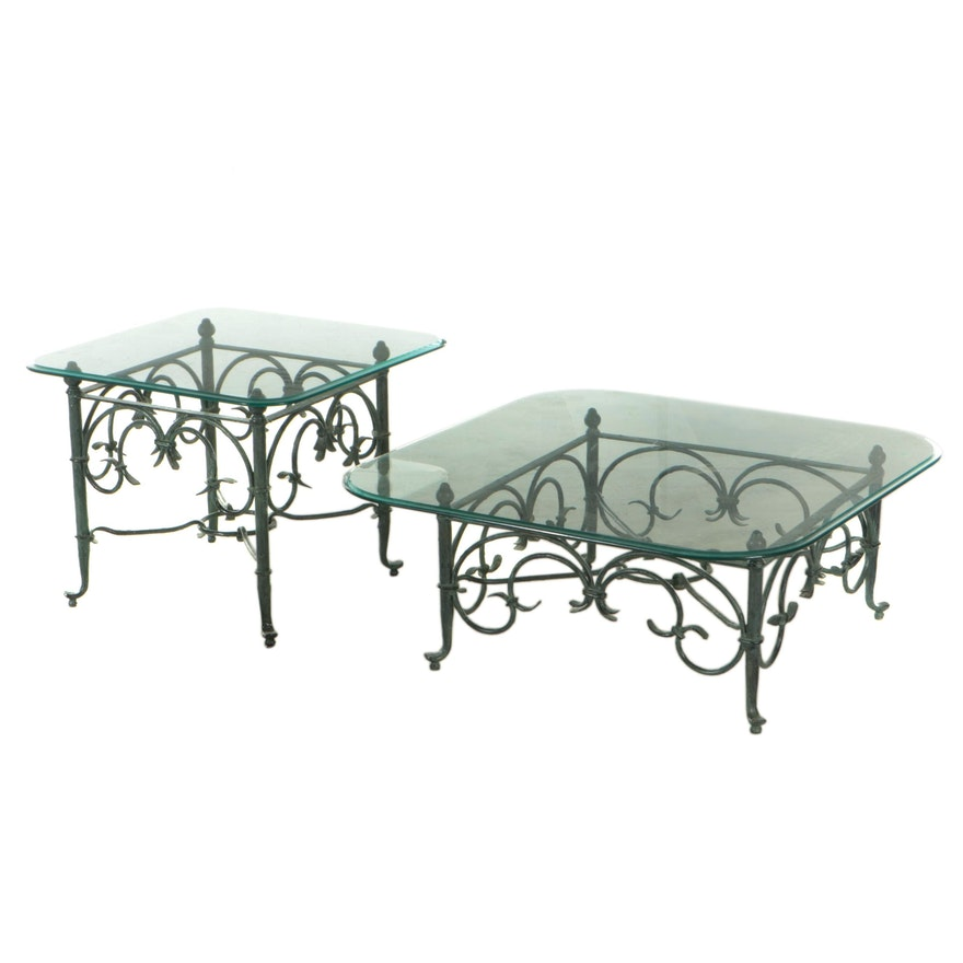 Bronze-Patinated Metal Glass Top Cocktail and End Table