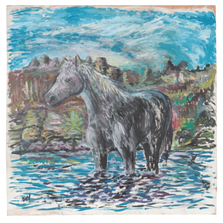 Oil Painting of Horse, Late 20th Century