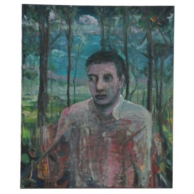 Jon Scharlock Oil Painting of Figure in the Woods, Late 20th Century