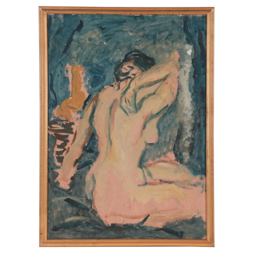 Gestural Oil Painting of Nude Figure, Late 20th Century