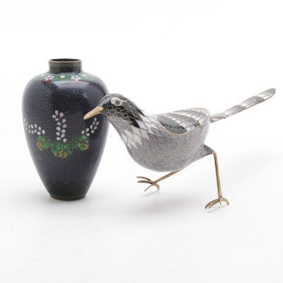 Chinese Cloisonné Enamel Bird Figurine and Vase, Late 20th Century