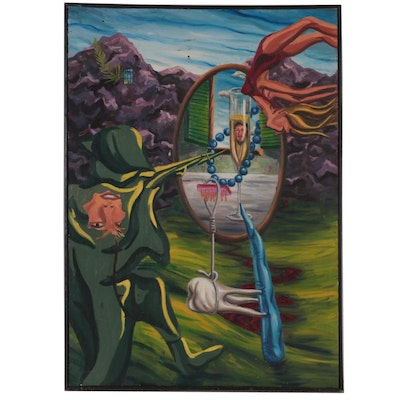 """Surrealist Style Oil Painting """"Them That Defend What They Cannot See,"""" 1983"""