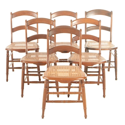 Six American Primitive Maple Ladder Back Dining Chairs with Cane Seats