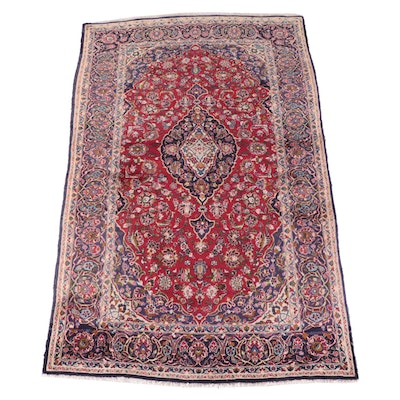 6'5 x 10'11 Hand-Knotted Persian Kashan Area Rug