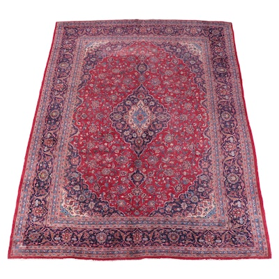 9'6 x 12'9 Hand-Knotted Persian Kashan Room Sized Rug