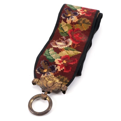 Needlepoint Bell Pull with Floral Motif and Brass Hanger