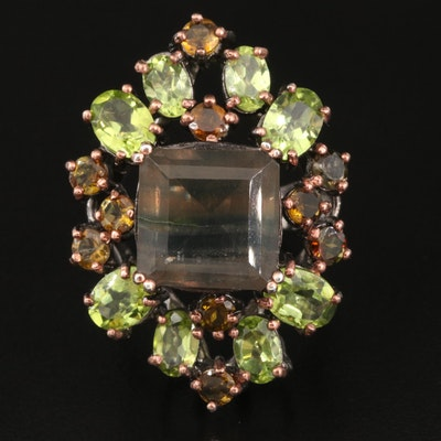 Sterling Fluorite, Peridot and Andalusite Openwork Ring