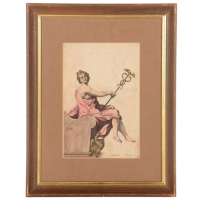 Hand-Colored Etching of the Muse of Medicine