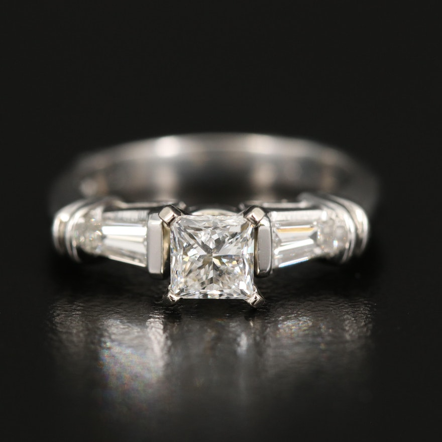 Platinum Diamond Ring with GIA Report and 14K Accent