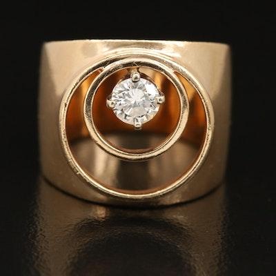 14K Diamond Concentric Band
