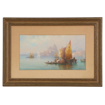 Victor Casnelli Watercolor and Gouache Painting of Boats on the Water