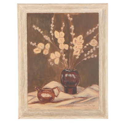 Merle Jean Stern Floral Still Life Oil Painting, 1962