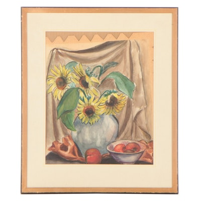 Watercolor Painting of Sunflowers, Mid-Late 20th Century