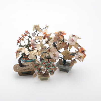 Chinese Gemstone Bonsai Trees in Cloisonné, Brass and Marble Bowls