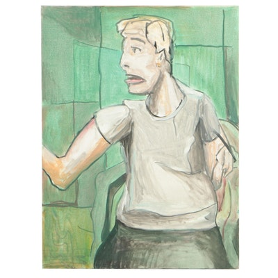 Jon Scharlock Oil Painting of Seated Female Figure, 2000