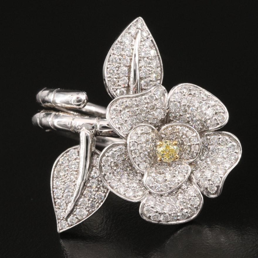 14K 2.38 CTW Diamond Between the Finger Hinged Flower Ring